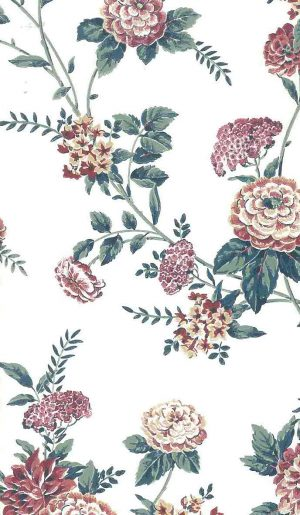 pink cottage floral vintage wallpaper, green, off-white, peonies