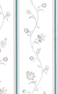 Waverly stencil vintage wallpaper, teal, pink, cream, cottage