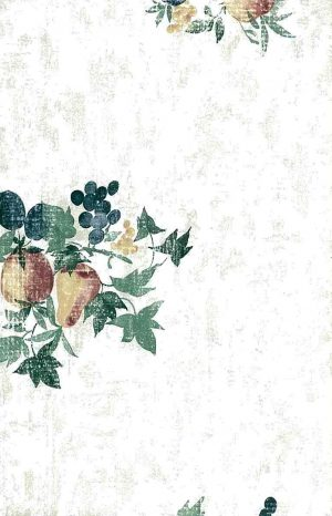 Fruit ivy wallpaper, peaches, pears, grapes, plums, off-white, faux finish, green, red, orange, blue