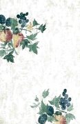 Pears, peaches, grapes wallpaper in green, off-white, blue, red