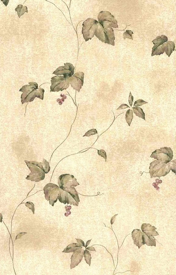 Wallpaper with Brown Leaves, Red Berries