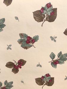berries vintage wallpaper, Sanitas, cream, red, green, gray