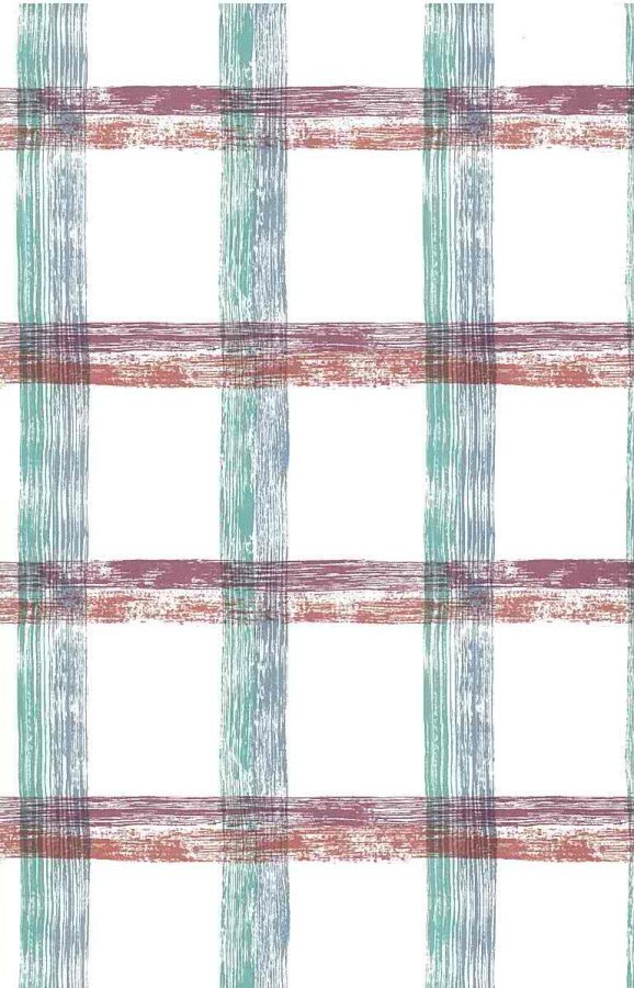 large-scale plaid vintage wallpaper, purple, orange, blue, green, white, itchen,