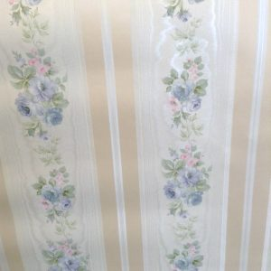 wallpaper moire floral white, pink, blue