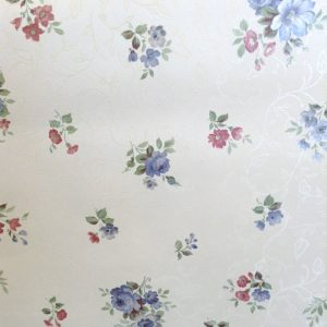 wallpaper floral satin white, blue, pink