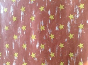 Gold star vintage style wallpaper, brown, white, faux finish, kdis, children, bedroom, study