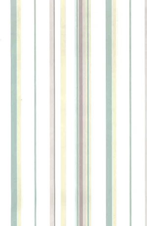 pastel stripe vintage wallpaper, pink, green, yellow, off-white, nursery, kitchen