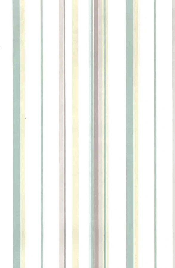 pastel stripe vintage wallpaper, pink, green, yellow, off-white, nursery, kitchen