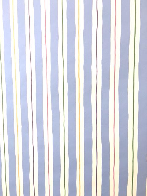 Blue white stripe vintage wallpaper, green, purple, pink, yellow, nursery, children's bedroom