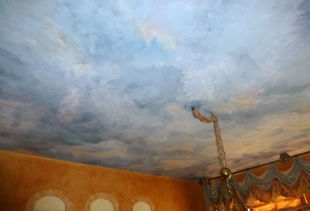 Painted ceiling of a Dining Room in a Venice Hotel