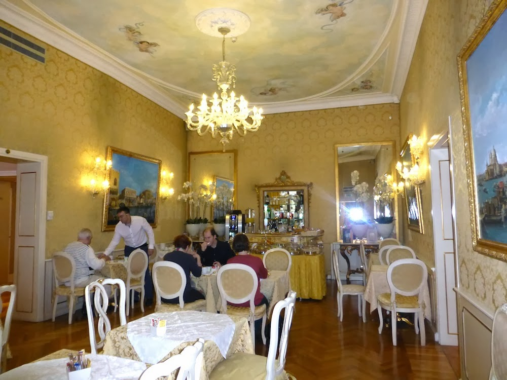 The Wallpapered Ceiling in a Venice Hotel Dining Room