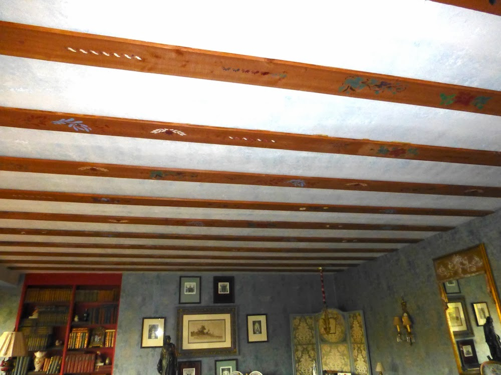 Painted ceiling beams in Venice Italy