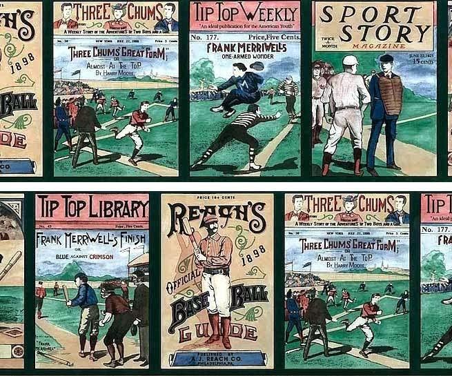 Vintage Magazine Ad Style Baseball Wallpaper Border Pattern
