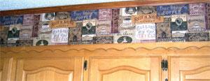 coffee labels wallpaper border
