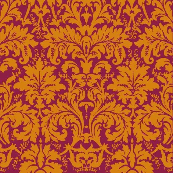Radiant Orchid Damask Vintage Wallpaper