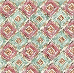 Vintage Greek Key Wallpaper in Teal, Pink & Cream
