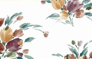 Vintage Tulip Bouquet Wallpaper in Off-white, Pumpkin, Eggplant, & Teal