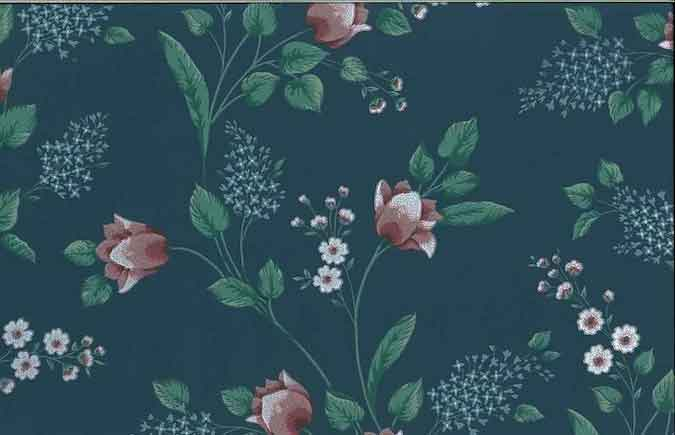 Vintage FLORAL Wallpaper Tulips Slate Blue Pink Green KL3056