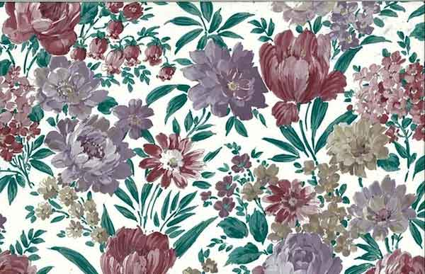 Lush Floral Vintage Wallpaper In Lavender Green Cranberry Taupe