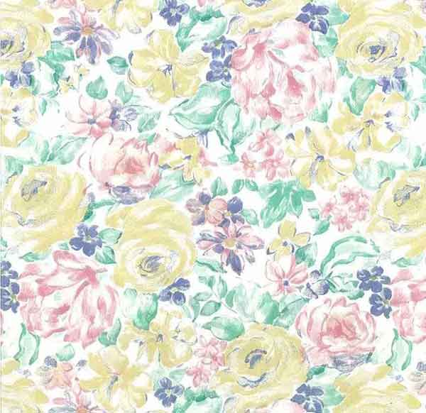 Vintage Shand Kydd Floral Wallpaper Pink Yellow Green Blue 20910