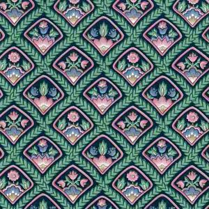 Arts Crafts Floral Vintage Wallpaper in Green, Pink. Blue & Black Diamonds