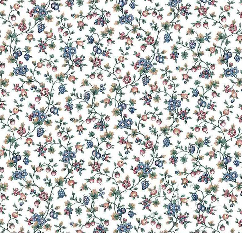 Berry Vines Vintage Wallpaper in Blue, White, Pink, & Green