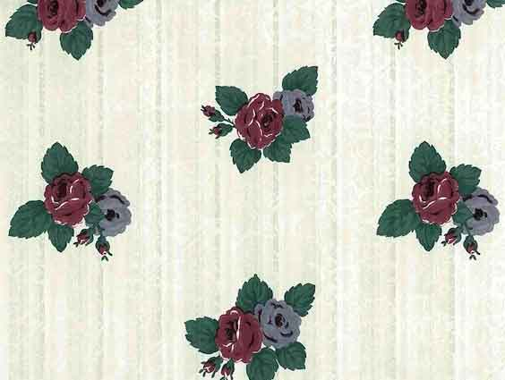 Floral Striped Vintage Wallpaper in Maroon, Blue, Green, Pink & White