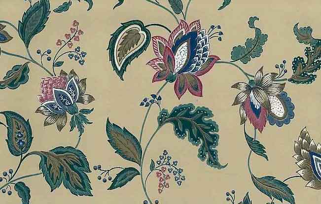 Jacobean Floral Vintage Wallpaper Paisley Taupe Green Rose 585062
