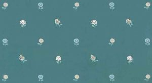 Country Floral Vintage Wallpaper in Sage, Blue, & Pink