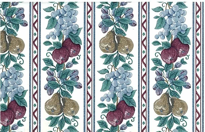 Vintage Fruit Striped Wallpaper Floral Dark Red Blue White Olive