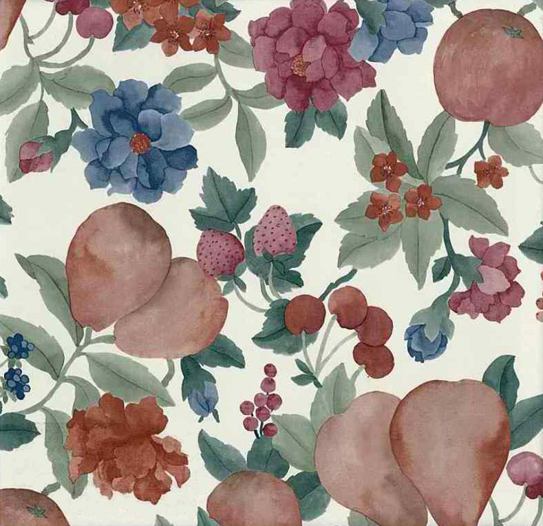 Fruit Floral Vintage Wallpaper Cream Pear Cherry Red Green