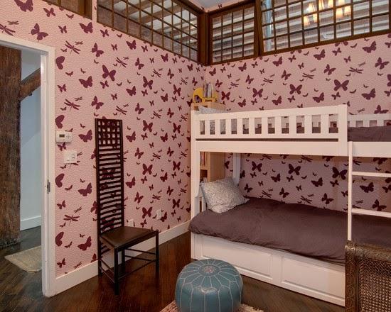 Butterfly wallpaper for girls bedroom