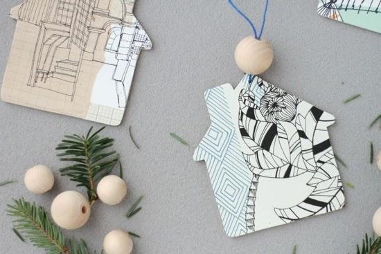 Holiday Ornaments using Wallpaper