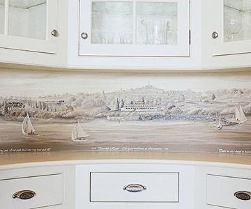Subtle Nautical Wallpaper Border Under the Cabinets!