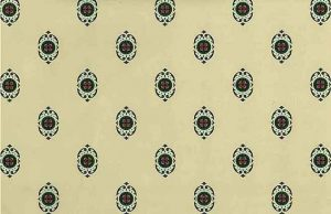 Arts Crafts Medallion Vintage Wallpaper in Cream, Green, & Red Medallions