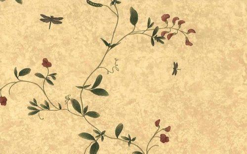Raymond Waites Floral Vintage Wallpaper, Yellow Faux Finish