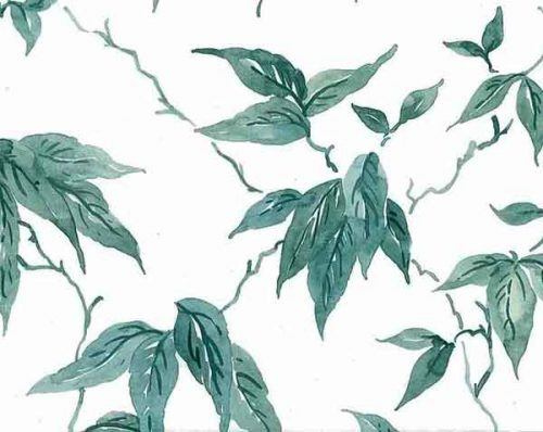 Leaves vintage wallpaper, Green Vines on White
