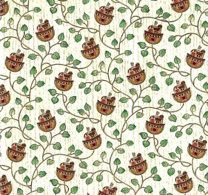 Vintage Noah's Ark Wallpaper with Green Vines on Cream Wood