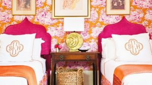 Radiant Orchid Bold Color Combo Bedroom Wallpaper
