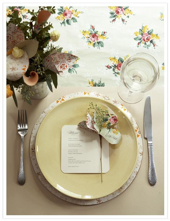 Wedding Place Setting using Vintage Wallpaper