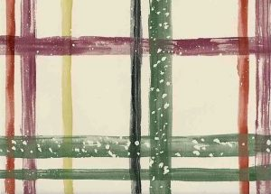 Green Cream Vintage Plaid Wallpaper with Purple, Red, & Black