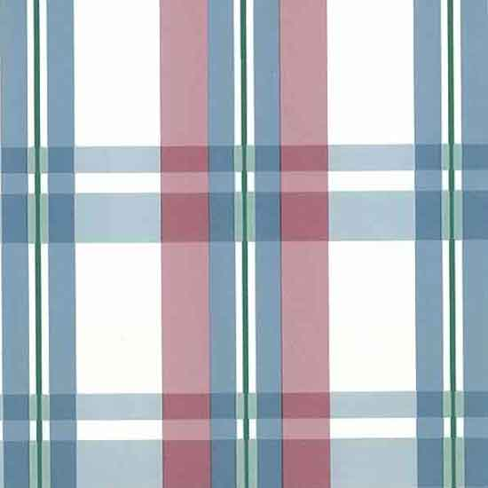 Plaid Vintage Wallpaper pink blue, Green accents on White