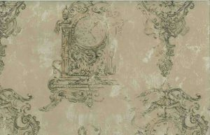 Designer Ronald Redding Clock Vintage Wallpaper in Taupe & Gold