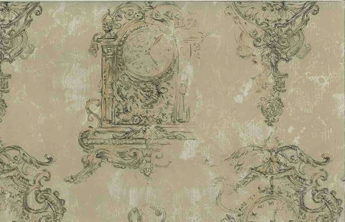 Designer Ronald Redding Clock Vintage Wallpaper in Taupe & Gold