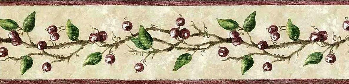 wallpaper gift tags :Winter Berries on a Vine Wallpaper Border